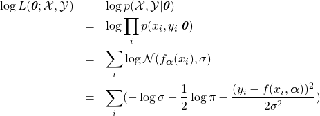\begin{eqnarray*} \log L(\boldsymbol{\theta};\mathcal{X},\mathcal{Y})&=&\log p(\mathcal{X},\mathcal{Y}\vert\boldsymbol{\theta})\\ &=&\log\prod_i p(x_i,y_i\vert\boldsymbol{\theta})\\ &=&\sum_{i}\log \mathcal{N}(f_{\boldsymbol{\alpha}}(x_i),\sigma)\\ &=&\sum_{i} (-\log\sigma-\frac{1}{2}\log\pi -\frac{(y_i-f(x_i,\boldsymbol{\alpha}))^2}{2\sigma^2}) \end{eqnarray*}